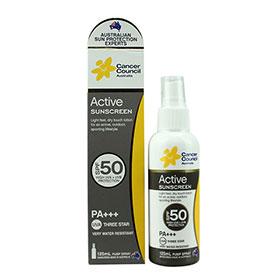 Cancer Council Active Sunscreen Spray SPF50PA+++ UVA Three Star 125ml