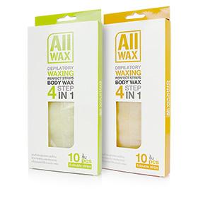 Set All Wax Waxing Perfect Strips Orange & Green (10pcsx2) แผ่นแว๊กซ์กำจัดขนกลิ่นพีช+แอปเปิ้ลเขียว ใช้งานง่ายเพียง 4 ขั้นตอน