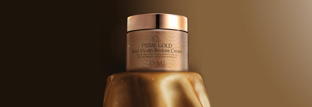 Dr.MJ Prime Gold Real Mucin Restore Cream ด้วยคุณค่าจากทองคำและเมือกหอยทากผสมผสานกันอย่างลงตัว ช่วยบำรุงผิวพร้อมกระชับยกระดับผิว