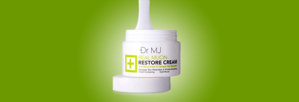 Dr.MJ Real Mucin Restore Cream ครีมบำรุงผิวสกัดเมือกหอยทากอันโด่งดังจากเกาหลี ลดเลือนริ้วรอยด่างดำ รอยแดงจากสิว