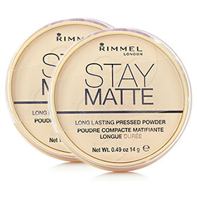 แพ็คคู่ Rimmel Stay Matte Longlasting Pressed Powder #001 Transparent แป้งฝุ่นอัดแข็งเนื้อบางเบา ให้การปกปิดเรียบเนียน