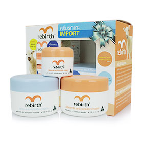Rebirth Placenta & Emu Anti-Wrinkle Set 2 Items Free Placenta Cream 30ml เซ็ตดูแลผิวหน้า ช่วยลดเลือนริ้วรอยพร้อมคืนความอ่อนเยาว์