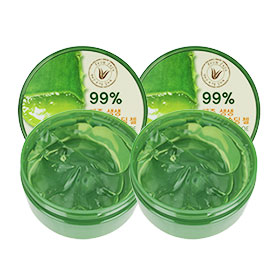 แพ็คคู่ The Saem Jeju Fresh Aloe Soothing Gel 99% เจลว่านหางจระเข้สูตรออร์แกนิค 99 % จากเกาะเชจู  เข้มข้นยิ่งขึ้น ชุ่มชื่นล้ำลึก