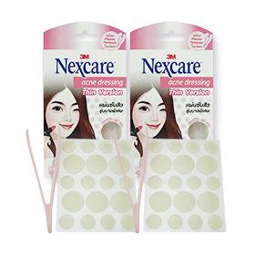 แพ็คคู่ 3M Nexcare Acne Dressing Thin Version size 0.8 & 1.2cm (18 pcs x2)