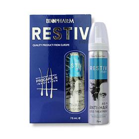 Biopharm Restiv Men Quality Product From Europe 75ml ผลิตภัณฑ์บำรุงเส้นผมและหนังศีรษะชนิดโฟม ไม่ต้องล้างออก