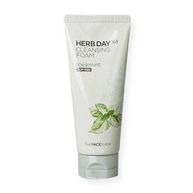 The Face Shop Herb Day Cleansing Foam Spearmint For Man 170ml   โฟมล้างหน้าสำหรับผู้ชาย สูตรสารสกัดจาก Spearmint ให้ความรู้สึกสด