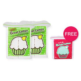แพ็คคู่ Great Cotton Cosmetic Cotton Pad (100Pcsx2) Free Cotton Bud 1 Pack(สินค้านี้ไม่ร่วมรายการซื้อ 2 ชิ้นฟรีค่าจัดส่ง)