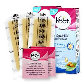 แพ็คคู่ Veet Hair Removal Waxstrips Almond Oil and Vitamin E (6sheets x 2boxes) (สินค้าหมดอายุ 17/9/2017)