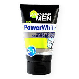 Garnier Men Powerwhite 2in1 Shaving + Cleansing Brightening Foam 100ml
