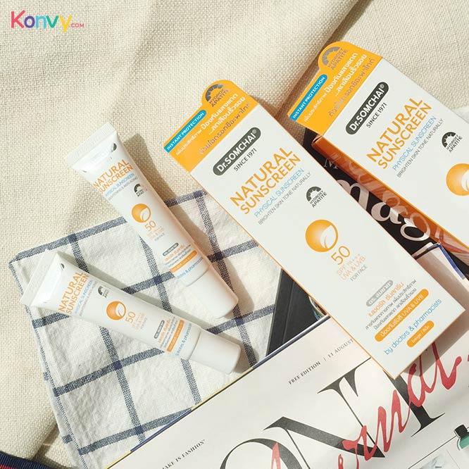 Dr.Somchai Natural Sunscreen SPF50/PA+++ UVA & UVB For Face Prevent Skin Aging #White_2