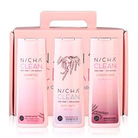 NICH'A CLEAN Daily Clean Anti-Pollution Set 3 Items (Shampoo 150ml + Conditioner 150ml + Body Bath 150ml)