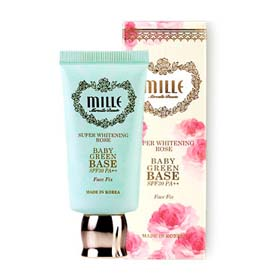 Mille Super Whitening Rose Baby Green Base SPF30PA++ 30g #Face Fix