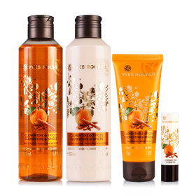 Yves Rocher Christmas 2016 Clementine & Spices Set 4 Items (Shower Gel 200ml Lip Balm 4.6g+Hand Cream 75ml+Body Lotion 200ml)