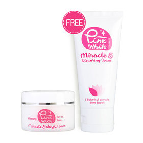 Pink White Miracle 5 Day Cream SPF 15 PA++++ 25g (Free! Pink White Miracle 5 Cleansing Foam 50ml)