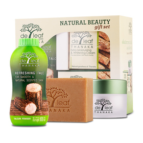 De leaf Thanaka Natural Beauty Gift Set 3 Items (Cream 45ml, Soap 100g, Powder 100g)