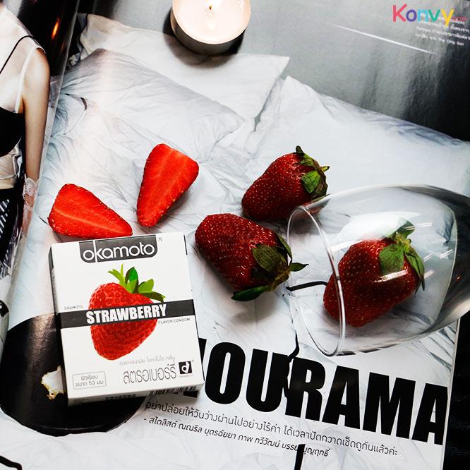 Okamoto Strawberry Flavor Condom 53mm (2pcsx3boxes)_1