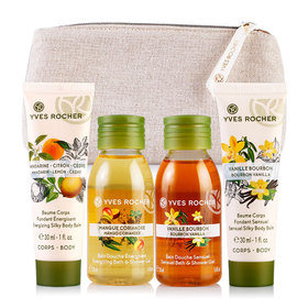 Yves Rocher Mini Les Plaisirs Nature Set 4 Items Free! Gift Bag(Mango 50ml+Vanilla 50ml+Sensual 30ml+Energizing 30ml)