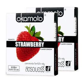 Okamoto Strawberry Flavor Condom 53mm (2pcsx2boxes)(สินค้านี้ไม่ร่วมรายการซื้อ 2 ชิ้นฟรีค่าจัดส่ง)