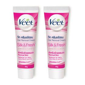 แพ็คคู่ Veet Hair Removal Cream Lotus Milk & Jasmine Normal Skin (50gx2pcs)