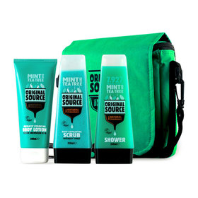 Original Source Mint And Tea Tree Gift Big Bag Set 3 Items (Scrub Gel 250ml + Shower Gel 250ml + Body Lotion 200ml)