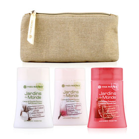 Yves Rocher Trio Set Jardins Du Monde (Pomegranate 200ml +Magnolia 200ml +Coton Shower Cream 200ml) Free! Golden Pourch