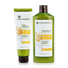 Yves Rocher Set 2 Items (Nutrition Nutri-Silky Shampoo Dry Hair 300ml #10853 + Conditioner Dry Hair 150ml #12079)