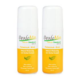 แพ็คคู่ DeodoMin Natural Whitening Deodorant Potassium Alum Roll-On (60ml x 2)