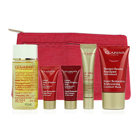 Clarins Super Restorative Set (5 Items) with Purse