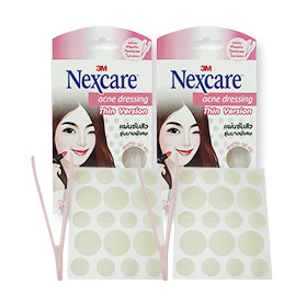แพ็คคู่ 3M Nexcare Acne Dressing Thin Version size 0.8 & 1.2cm (18 pcs x2)