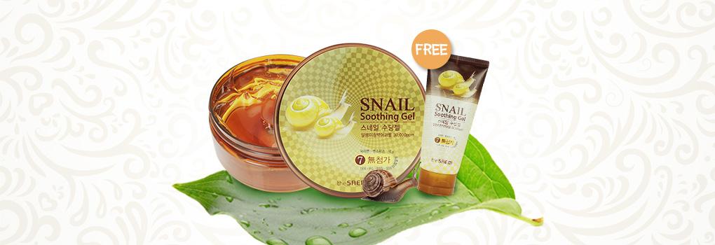 The Saem Snail Soothing Gel 300ml (Free Snail Soothing Gel 120ml)