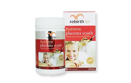 Rebirth Life Platinum Placenta Youth With Q10 Seed&EPO 3000mg 60Soft Gel Capsules ( สินค้าหมดอายุ : 2019.02 )