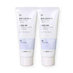 แพ็คคู่ The Face Shop Air Cotton Make Up Base SPF30 PA++ #02 Lavender (40ml x2)