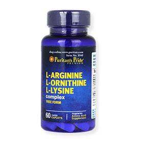 Puritan's Pride L-Arginine L-Ornithine L-Lysine Complex Free Form (60 caplets)