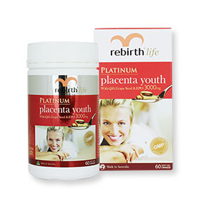Rebirth+Life+Platinum+Placenta+Youth+With+Q10+Seed%26EPO+3000mg+60Soft+Gel+Capsules