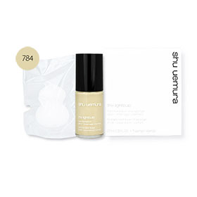 Set Shu Uemura The Lightbulb Fluid Foundation #784 Fair Beige 27ml & Sponge Glow - Coverage - Comfort 1pcs