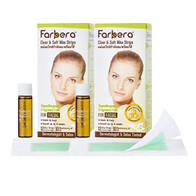 แพ็คคู่ Farbera Clear & Soft Wax Strips (For facial) (12pcs×2)
