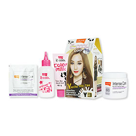 Set Lolane Z Cool Color Milk #Y3 Vanilla Milk Tea (Box) & Intense Care Keratin Repair Mask (Coloring) 200g