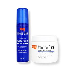 Set Lolane Intense Care Leave-in Hyaluronic Serum 100ml & Intense Care Keratin Repair Mask (For Dry & Damaged Hair) 200g