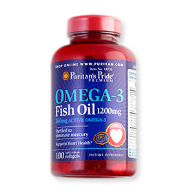 Puritan's Pride Omega-3 Fish Oil 1200mg (100 Softgels)