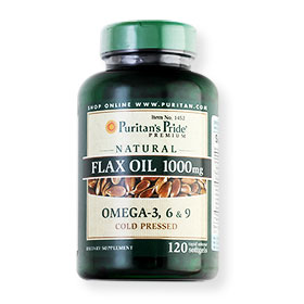 Puritan's Pride Premium Natural Flax Oil 1000mg Omega-3, 6&9 120 softgels