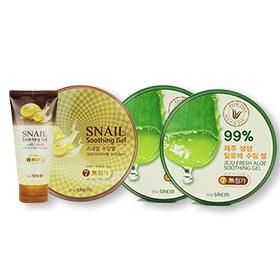 The Saem Soothing Gel Set 4 Items -Jeju Fresh Aloe Gel (300mlx2)  +  Snail Gel (300ml+120ml)