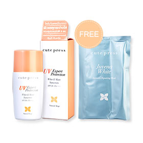 Cute Press UV Expert Protection White & Matte Sunscreen SPF50+ PA++++ #Natural Beige 30ml Free Juvena White Intensive Repair