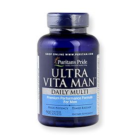 Puritan's Pride Ultra Vitra Man Daily Multi Premium Performance Formula For Men 90 Coated Caplets