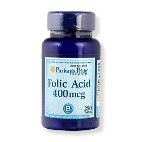 Puritan's Pride Folic Acid 400mcg 250 Tablets