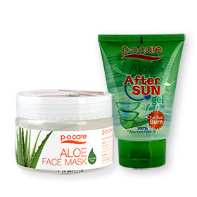 P.O. Care Aloe After Sun Gel and Aloe Face Mask Set 2 Items(Gel 95ml+Mask 130ml)