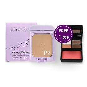 Cute Press Evory Retouch Oil Control Foundation Powder SPF30 PA+++ #P2 (Free Color Fantasy Eye & Cheek Mini Palette 1pcs)
