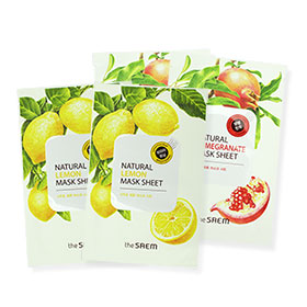 The Saem Whitening and Brightening Mask Set 4 Sheets (Lemon and Pomegranate)