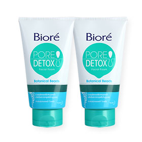 แพ็คคู่ Biore Pore Detox Botanicals Beads Facial Foam (100gx2)