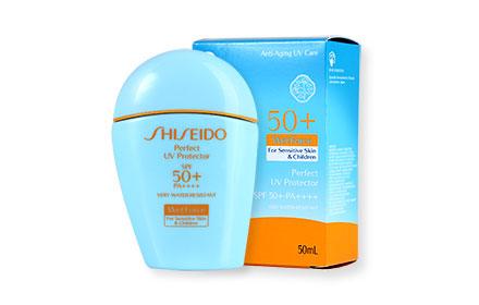 ผลการค้นหารูปภาพสำหรับ Shiseido Perfect UV Protector SPF 50+ PA For Sensitive Skin & Children 7ml.