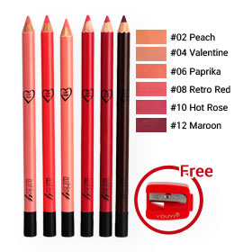 Ashley Color Stay Lip Liner Pencil Set 6 Items (#02,04,06,08,10,12,Free กบเหลา)